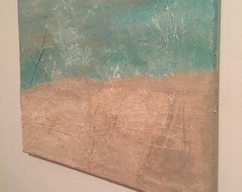 Mixed media abstract beach painting