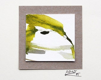 Miniature (64), watercolor, abstract art, small gift, square image, original, pastel, wall decoration, ink drawing, small thank you