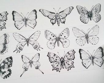 Design Washi tape butterflies black white II