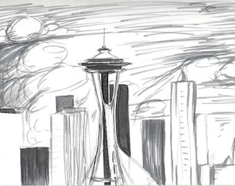 Seattle Space Needle Landscape 8x12 Prints