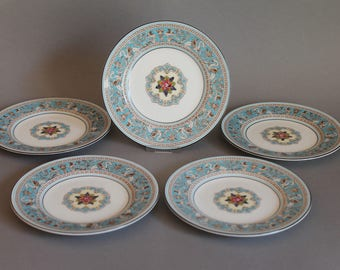 "Wedgwood Turquoise Florentine 5 Plates 6"" In Diameter Fine China"