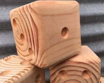 DIY Wooden Dice, Set of Six Dice ready for you to paint or stain!  Finished dice can be used for Yard-Zee and other backyard games!!