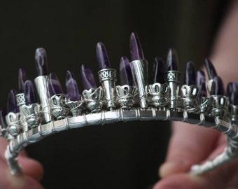 amethyst crown, silver wedding tiara crown, February birthstone jewelry, fairy queen crown, cosplay headpiece, princess crown, gemstone