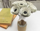 Book Page Flowers - Wedding Book Flowers - Book Centerpiece - Paper Roses