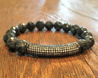 Black Labradorite beaded stretch bracelet with a rectangular crystal bead