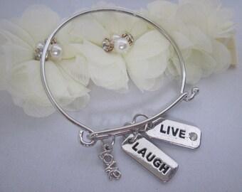 Live, Love, Laugh, Silver Bangle Bracelet, Inspirational, Sentimental Bracelet, Birthstone, Personalized, Charms, Gift