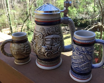Set of 3 Avon Steins-Transportation,Sailing Ships and Aviation-Spring Cleaning Sale!