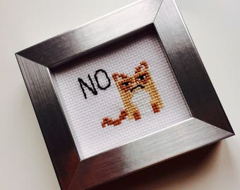 Grumpy Car | Cat | No | Cartoon | Kawaii | Sassy | Cute | Gift | Home | Framed | Cross Stitch | Parent | Teacher | Boss | Desk