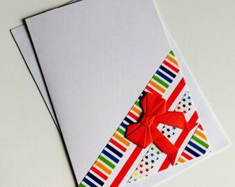 Blank Card | Rainbow | Cute |  Birthday | Thank You | Origami | Bow