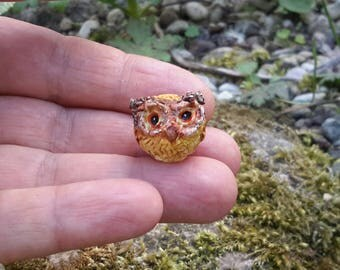 miniature owl, clay owl, owl figurine, miniature barn owl figurine, collectable, terrarium miniature decoration, fairy house, tiny owl, owl