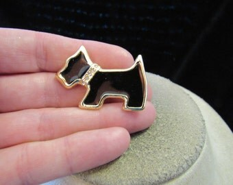 Vintage Goldtone Black Enameled & Clear Rhinestone Dog Pin