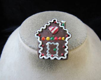 Vintage Christmas Ceramic Gingerbread House Pin