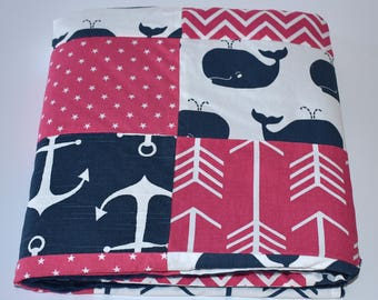 Navy and Fuchsia Pink Whales Patchwork Blanket, Girl Nursery, whales, nursery, navy, fuchsia, grey,