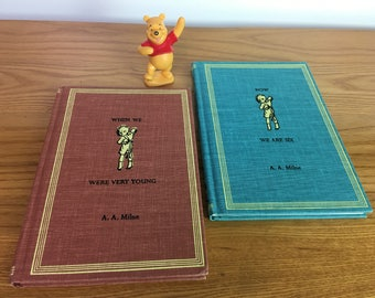 AA MILNE Revised 1961 Hardcover Dutton Winnie the Pooh Set 4 Lot vintage 60s
