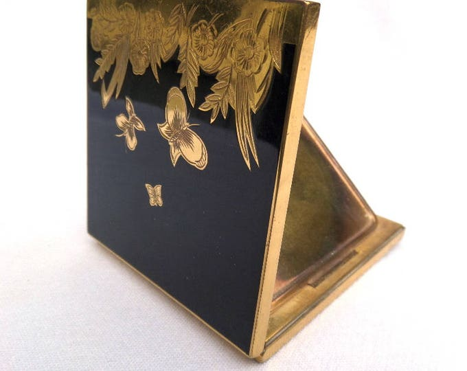 """French Powder Compact, Black Enamel and Gold Plate, Etched Butterflies, Bevelled Glass Mirror, Includes Original Loose Powder Sifter 3"""" x 3"""""""