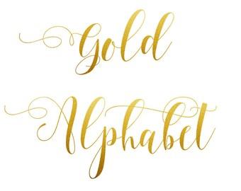 Buy 3 for 9 USD - Gold Alphabet Clip art, Gold Glitter Alphabet, Digital clipart, Numbers, Font, Letters cards, invitationsrt, PNG