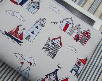 Padded i pad pouch, i pad case, iPad pouch, iPad case, nautical theme I pad case, seaside zipper pouch, I pad zip up pouch,