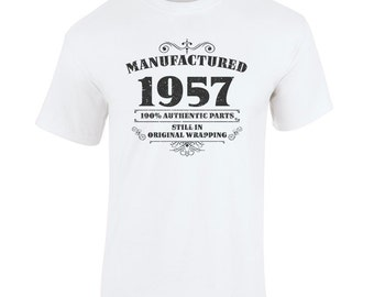 Men's 60th Birthday T Shirt Funny Manufactured 1957 60th Birthday Gifts *GIFT BOXED free of charge!*