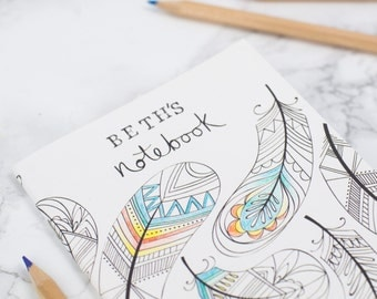 Personalised notebook, Mother's Day Gift, Colouring in notebooks, Set of notebooks, colouring book, mindfulness