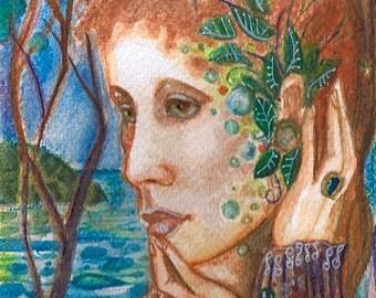 "Shaman series ""Manzanita Goddess""  Art Print of original watercolor"
