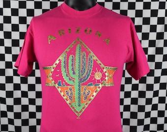 Vintage 90s Arizona Tee Shirt / Arizona Cactus Print T Shirt / Arizona Desert Graphic / Desert Print / Arizona Souvenir Shirt