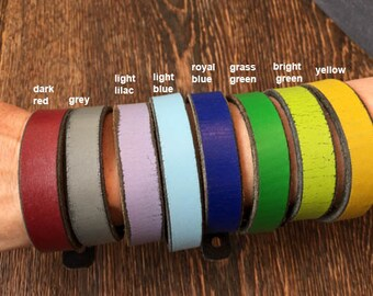handmade leather bracelet in different colours