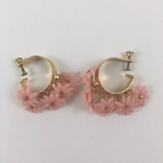 pink flower clip on earrings gold tone backs dangle