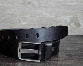 Leather Belt,Mens Belt,Personalized,Full Grain Leather Belt,Black Cowskin Leather Belt For Business Man ,Durable