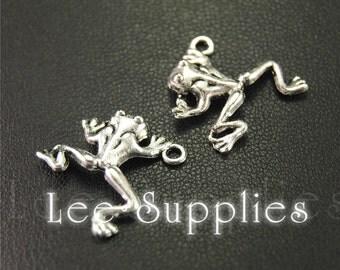 20pcs Antique Silver Alloy Frog Charms Pendant A1919