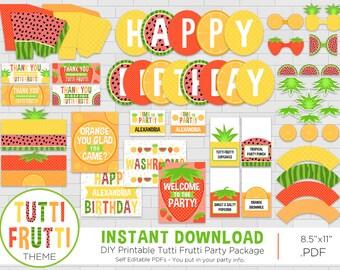 Tutti Frutti Birthday Party Package - Fruit Theme - Tutti Frutti Party - Fruit Party Printables - DIY - Instant Download - Adobe Reader