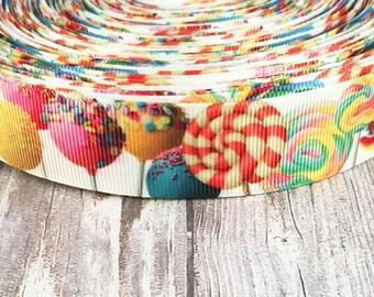 """1"""" Candy ribbon - Sweet ribbon - Lollipop ribbon - Cake pop ribbon - Funky ribbon - Grosgrain ribbon - Unique ribbon - Candy theme"""