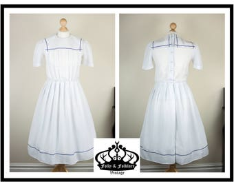 80s Nautical Pure White and Navy Blue Dress with Sailor Collar, Size S