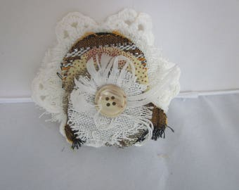 FLUFF FLOWER BROOCH  Floral and Feathers...Lace and Layers Fun!