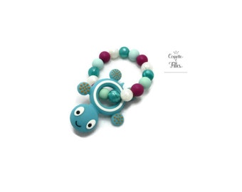 turtle teething toy, bracelet with silicone beads, gum soothing, baby bracelet, turtle bracelet