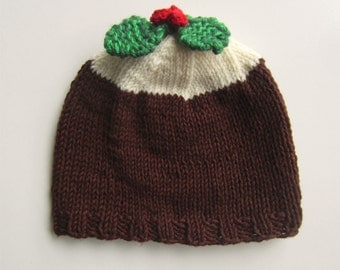 Christmas Pudding Hat - knitted cotton/acrylic blend yarn - brown knit beanie - Plum Pudding and Holly