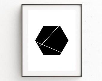 Black Wall Art Decor, Geometric Art, Hexagon, Abstract Art, Geometric Wall Art, Black And White, Scandinavian Prints, Geometric Print