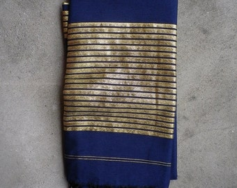 Dark Blue and Gold Thread LARGE Fouta