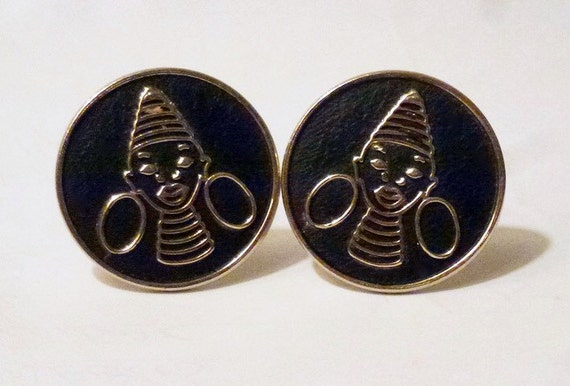 Vintage 1950s/60s Modernist Cufflinks with African Ndebele Ring-Neck Lady Design