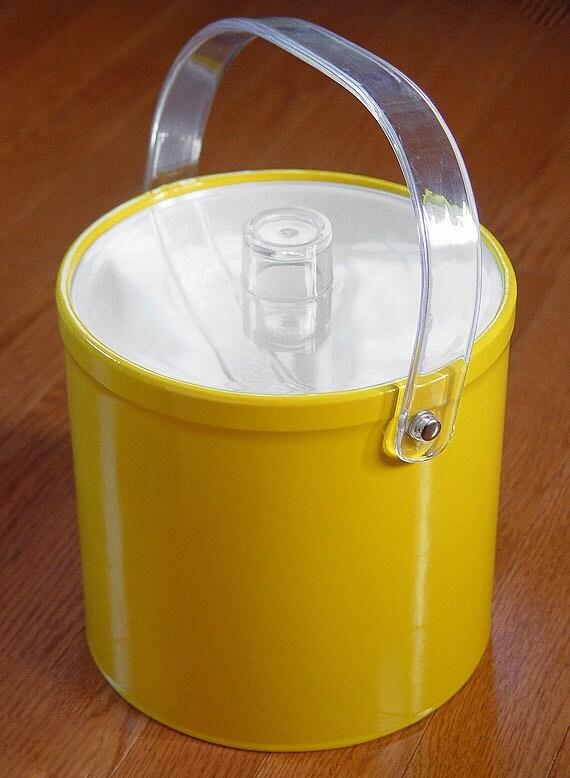 Vintage Mid-Century Modern Donde Designs Yellow Vinyl Lucite Ice Bucket Wine Chiller Made in USA