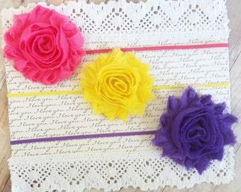 Set Of 3 Headbands, Girl Headband Baby, Baby Headbands, Hair Bows For Girls, Yellow Headband, Hot Pink Headband, Purple Headband, Hair Bows