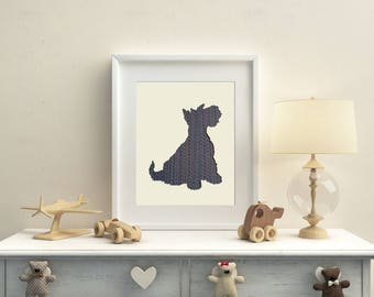 Schnauzer Dog Textile Art - made with hand woven fabric
