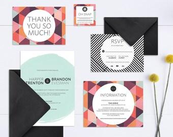 Geometric Wedding Invitation • Modern Wedding Invitation Template • Fun Wedding Invitations • Colorful Wedding • Striped Invitation • Unique