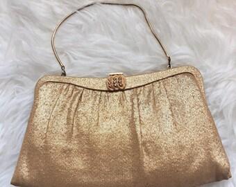SALE!! Darling Gold Lurex Fabric Clutch!