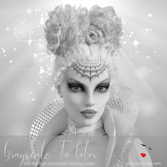 Fantasy Queen Woman Grayscale Coloring Page Greyscale For Adults Book PDF Instant Download