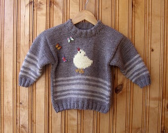 Animal Hoodie Knitting Pattern : Chicken sweaters Etsy