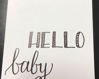 Hello baby hand lettered card