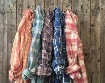 Custom Vintage Sun-Faded Flannel, Spring Bridesmaid Flannel, Soft Flannel, Summer Bridesmaid Gift, Rustic Wedding Flannel Custom Order