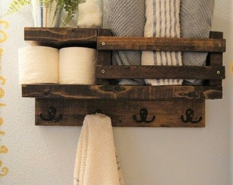 Bath Towel Shelf Bathroom Wood Rack Hook