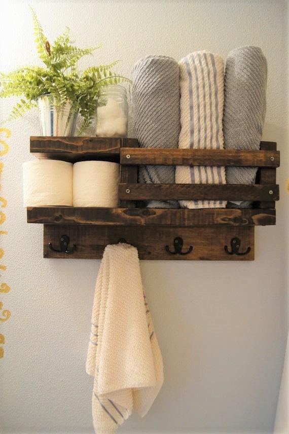 Bath towel shelf shelf bathroom wood shelf towel rack for Wooden towel racks for bathrooms