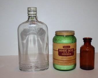 Vintage Medicine-Medical Bottles-Jar-Lysol-Boric Acid Powder-filigree bottle